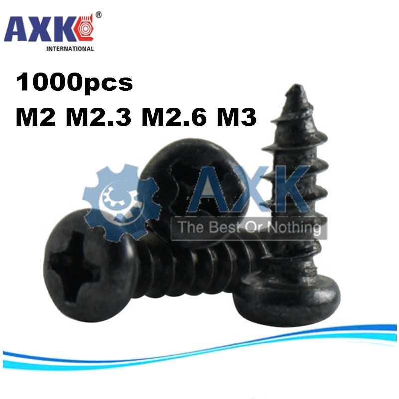 AXK <font><b>1000pcs</b></font> m2 m2.3 m2.6 <font><b>m3</b></font> PA Phillips Head Micro Screws Round Head Self-tapping Electronic Small Wood Screw image
