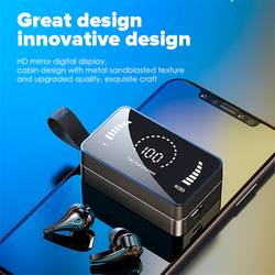 Bluetooth Koptelefoon Mini Led Display Hoofdtelefoon 9D Hifi Stero Geluid Oordopjes Draadloze Headsets Sport Headsets Met Microfoon