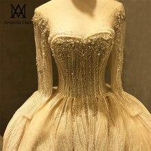 Женское вечернее платье с длинным рукавом, роскошное свадебное платье с жемчугом и кристаллами