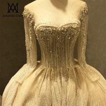 robe longue soiree Long Sleeve Pearls Luxury Crystal Wedding Dress