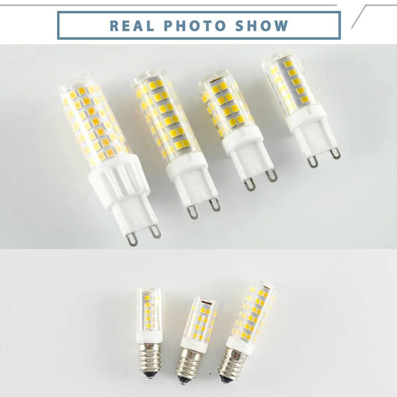 LED G4 G9 مصباح مصباح ليد E14 LED لمبة 7 واط 9 واط 10 واط 12 واط 220 فولت acخزف COB سمد 2835 LED لا وميض عكس الضوء السيراميك استبدال مصباح هالوجين
