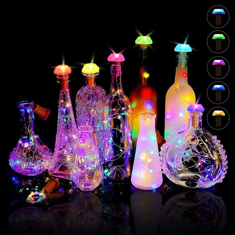 Solar LED Wine Bottle Lights Cork Battery Powered Garland Copper Wire Christmas String Lights For Halloween Party Wedding Decor