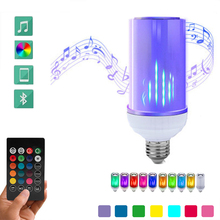 E27 LED Bulb Smart Bluetooth Audio speaker flame RGB light Remote Control adjustable smart bulb with 24 Keys
