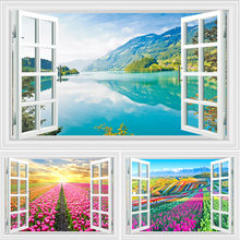 Lake Scenery And Sea Of Flower Tree Wall Art 3D Window Design Canvas Painting Posters Pictures Prints Home Living Room Decor