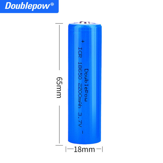 True capacity 100% new original Doublepow 18650 battery 3.7v 2200mah 18650 rechargeable lithium battery for flashlight batteries 2