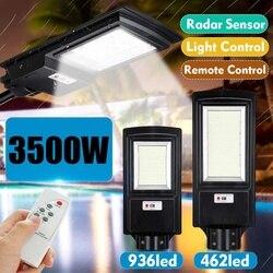 Светодиодный уличный фонарь на солнечной батарее IP65 436/936 светодиодный 8500K Светильник с радиолокационным датчиком движения настенный свети...