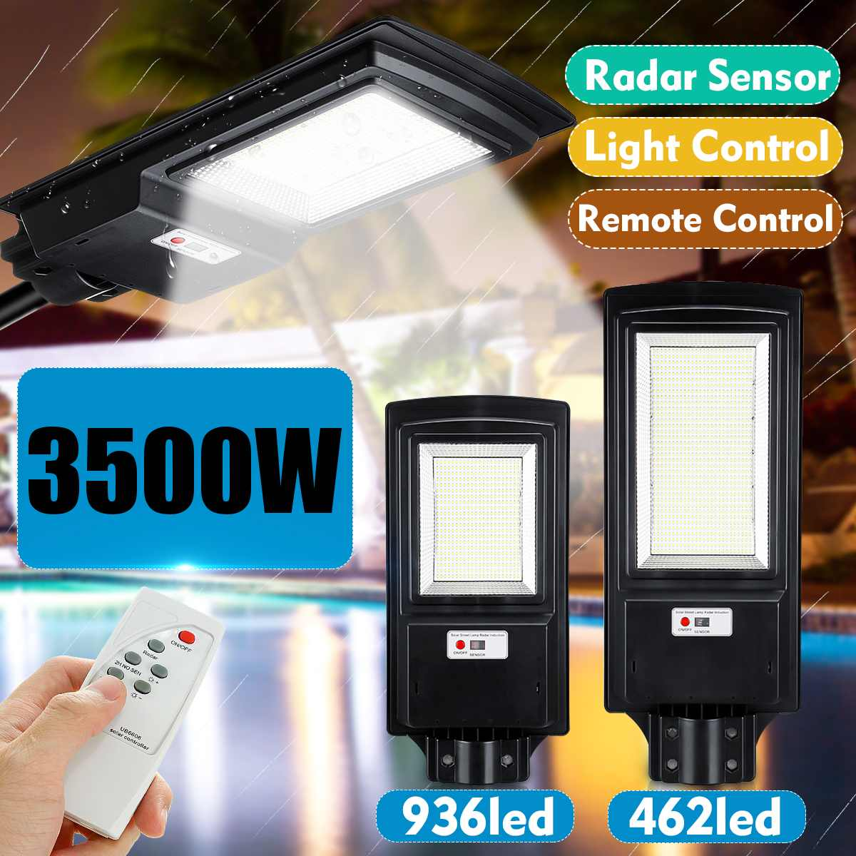 LED Solar Street Light IP65 436/936LED 8500K Light Radar Motion Sensor Wall Timing Lamp Remote Control For Garden Outdoor 3500W