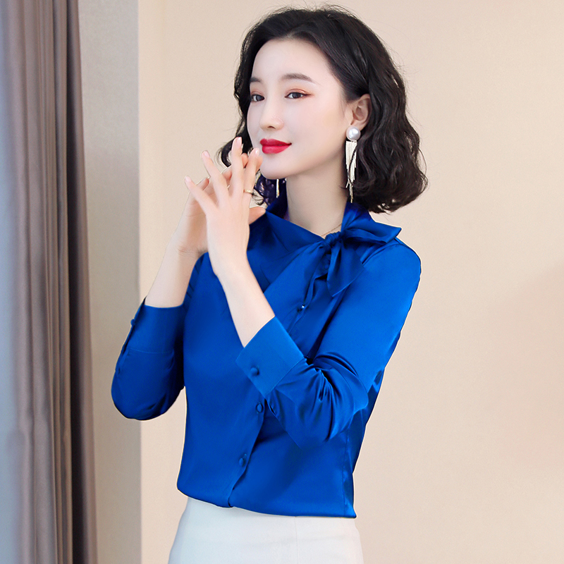 Korean Silk Women Blouses Woman Satin Blouse Office Lady Bow Shirt Plus Size Blusas Mujer De Moda Elegant Women Solid Blouses