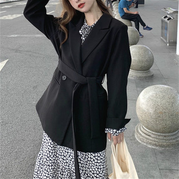 Blazer Women Elegant Office Ladies Jackets Coats Belt Casual Loose Outfit Business Clothing Korean Fashion Outwear Autumn 2020 elegant blazer women long sleeve jackets coats office lady outwear casual korean fashion female outfit clothing autumn 2020