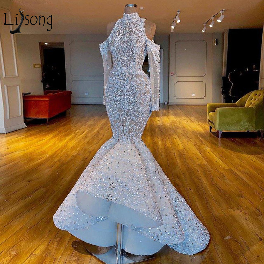 Luxury Sparkle Mermaid Crystal Prom Dresses Full Sleeves High Collar Lace Beaded Sequined Long Prom Gowns