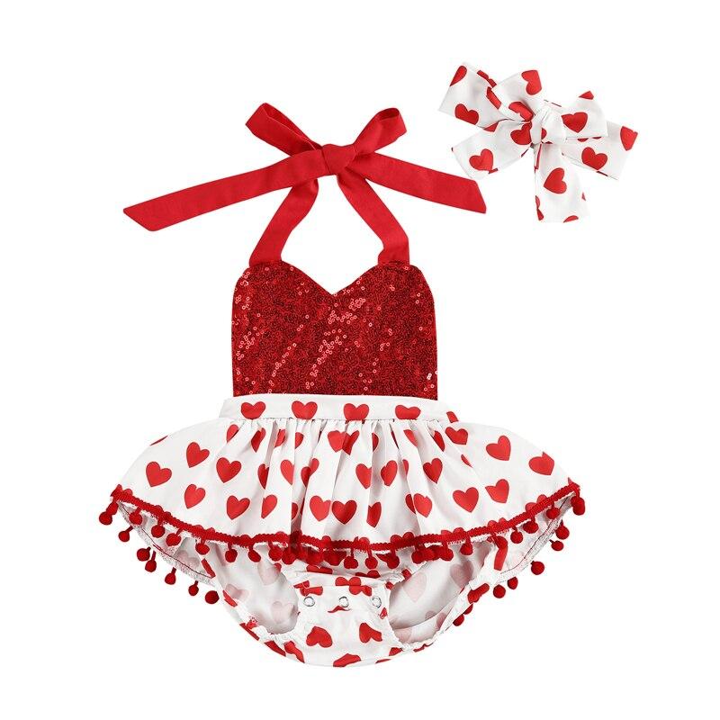 Dia dos namorados bebê recém-nascido meninas macacão vestido bandana amor coração impressão lantejoulas macacões 0-24m