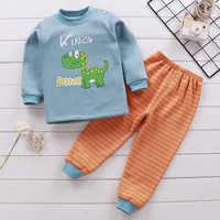 Conjuntos de ropa de invierno para niños, pijamas para chicos de forro polar cálido, ropa de dormir gruesa de dinosaurio para niños, ropa interior térmica para bebés, PIJAMAS