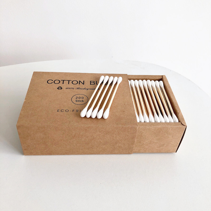 200Pcs Bamboo Cotton Buds Double Head Adults Makeup Cotton Swab Microbrush Wood Sticks Nose Ears Cleaning Health Care Tools