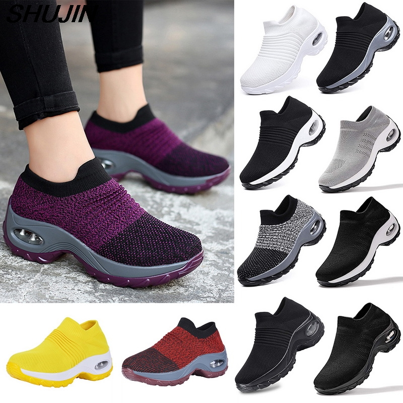 Women Platform Shoes Sneakers Casual Lace Up Breathable Wedge Sneakers Deportivas Mujer Black Trainers Knitting Shoes
