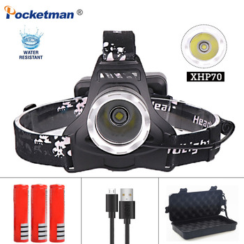Powerful LED Headlamp XHP70 Waterproof Headlight Rechargeable Flashlight Torch Lantern for Hunting Fishing Head Light powerful 12000 lumen 3 cree xml l2 headlamp headlight head lamp light flashlight rechargeable lantern fishing hunting lights