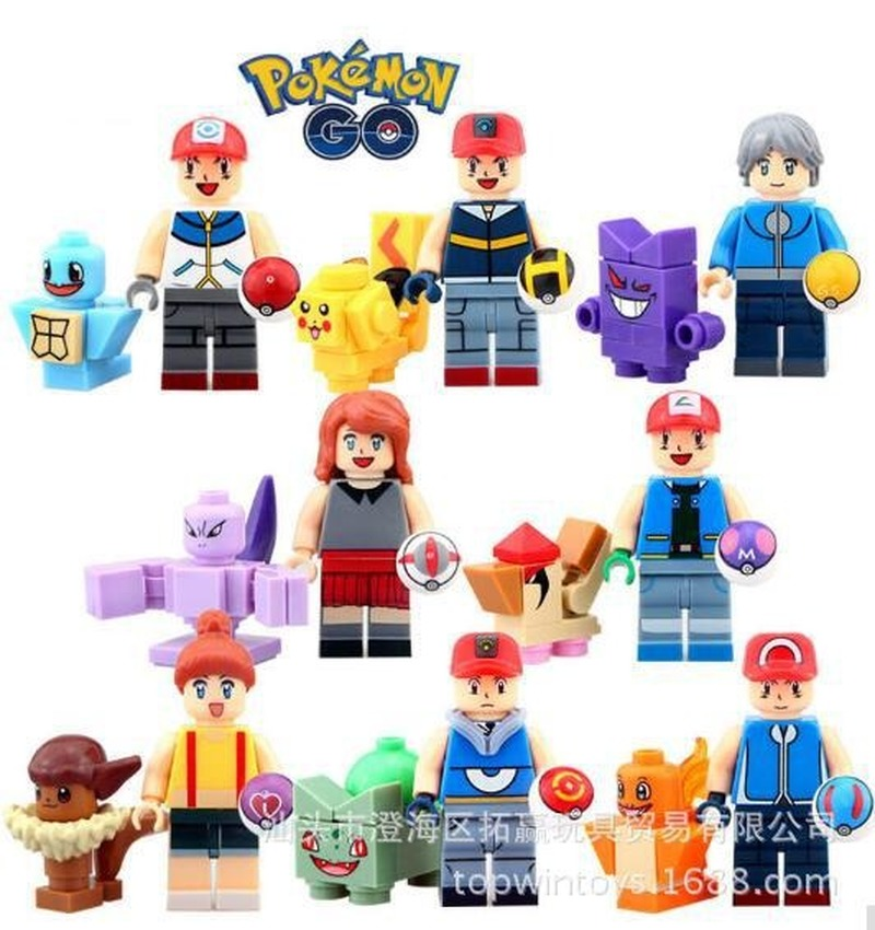 8PCS TOMY SY620 Pokemon Pikachu Develops Intelligence Small Particles Building Blocks Action Figures Kids Educational Toys Gifts