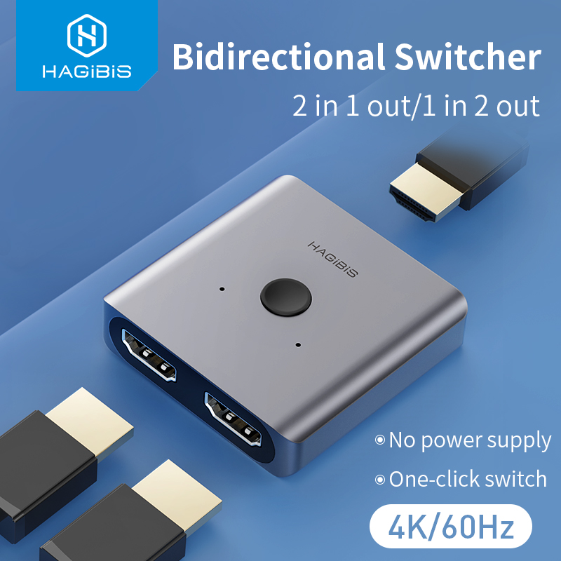 Hagibis HDMI Switcher 4K 60Hz HDMI Splitter Bi-Direction 1x2 2x1 Adapter 2 in 1 out for PS4 3 TV Box HDTV Xbox Projector