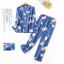 Korea Cute cartoon 100% cotton pyjamas women pajamas sets Japanese sweet 100% Brushed cotton sleepwear women pijamas mujer