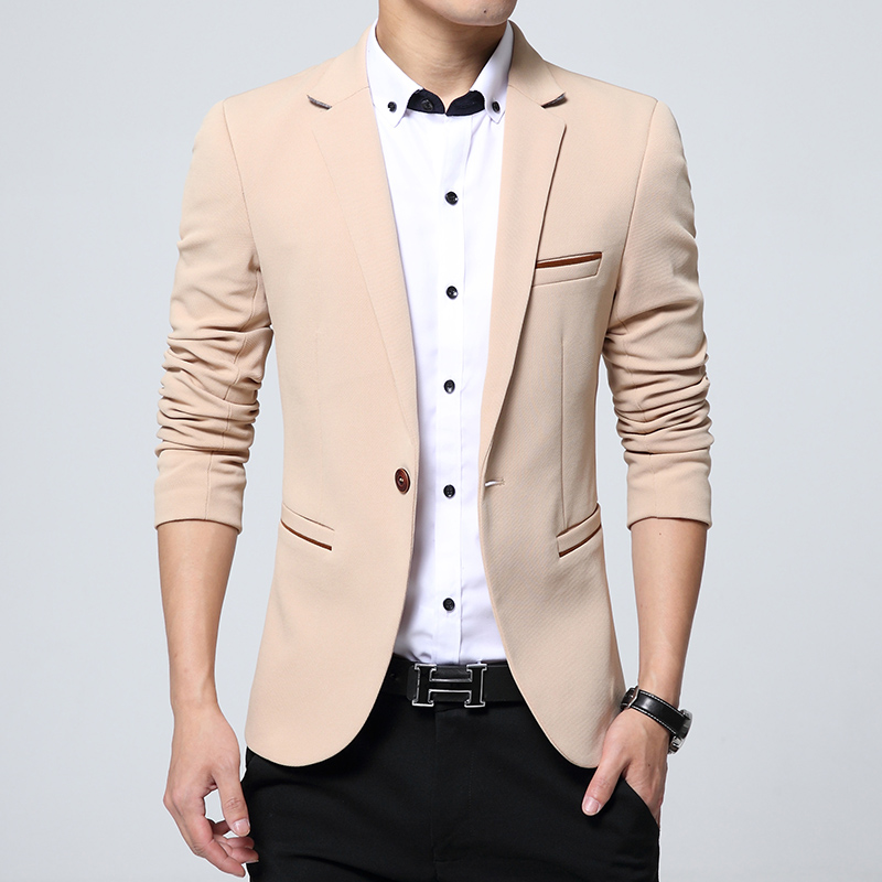 2019 New Fashion Men Slim Autumn Suit Blazer Formal Business Male Suit Jacket One Button Lapel Casual Long Sleeve Pockets Top