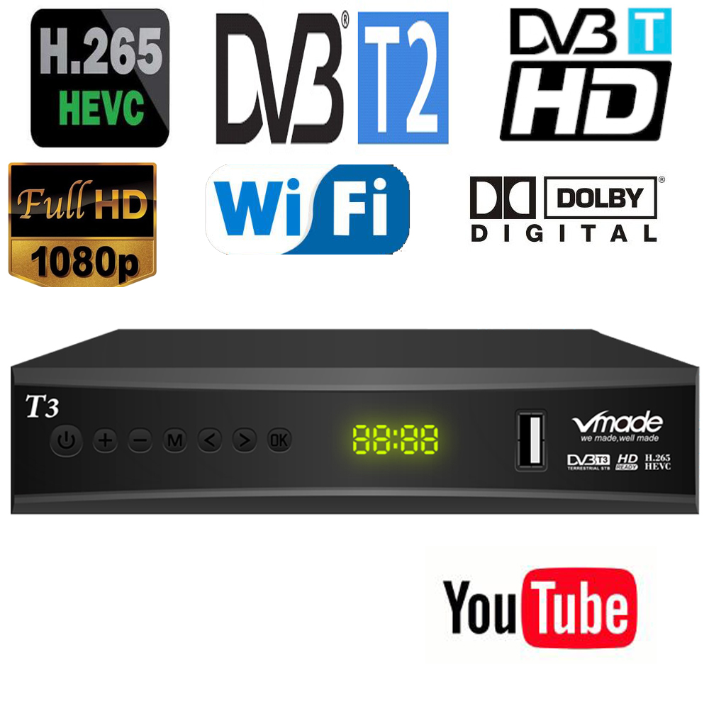 H265 Hevc New Dvb T2 Tv Receiver Supports Youtube Dolby Ac3 Hevc H265 Updated From DVB-T