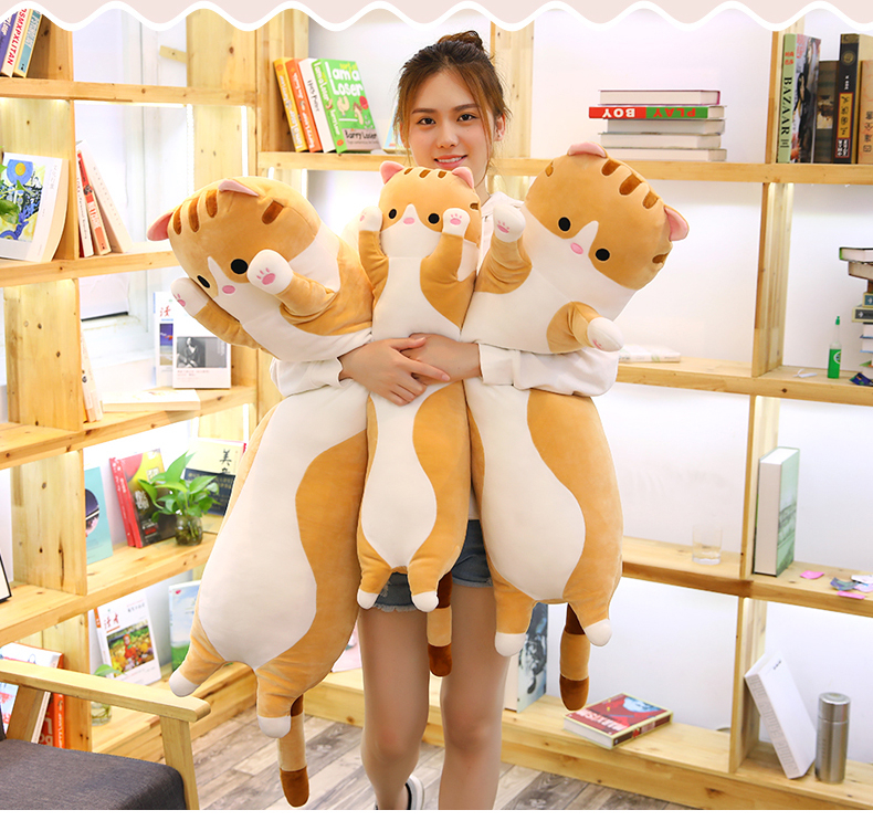 Long Cat Plush Doll Toy 50/70/90cm Big Long Cat Doll Toy Soft Stuffed Animals Sleeping Pillow Accompany Dolls For Baby Kid Gifts