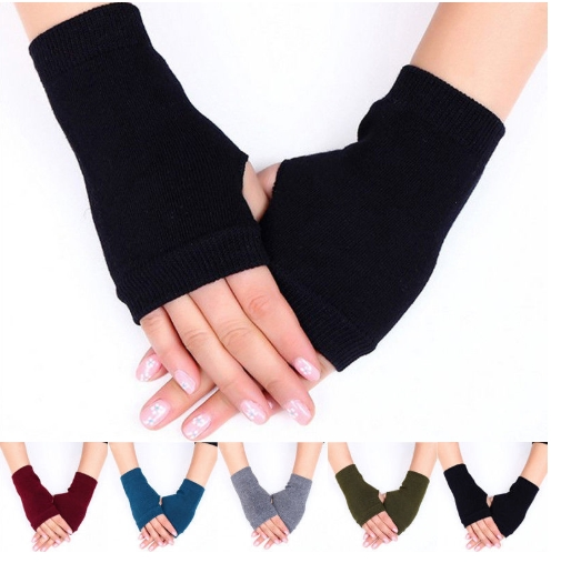 Men's and Women's Half-finger Gloves Winter Warm Wool Knitted Arm Gloves Soft Warm and Convenient Computer Mobile Phone Gloves