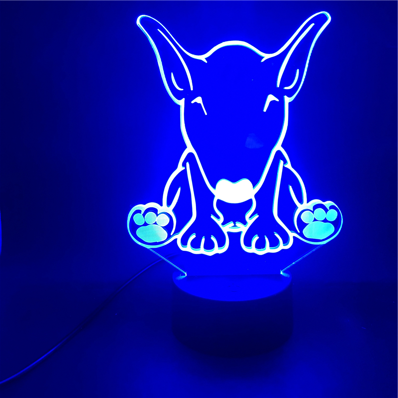 Smart Phone Control Bull Terrier Pets Dog Animal LED Night Light Kids Gift Cartoon Table Lamp Bedroom Directly Supply Dropship