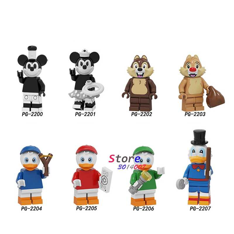 Single Cartoon Movie Series Mickey Pretty Duck Daisy Little fairy Animal Elephant Elk Bald Eagle Unicorn Building Blocks kid toy