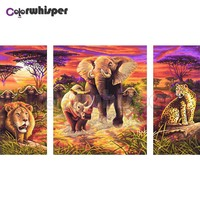3PCS Diamond Painting Full Square/Round Drill Elephant Lion Forest 5D Daimond Painting Embroidery Cross Stitch Mosaic Z649