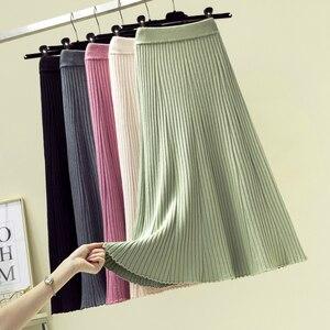 Image 1 - Женская длинная юбка в рубчик, зимняя утепленная трапециевидная юбка из смеси кашемира, плиссированная плотная вязаная юбка до середины икры, Осень зима
