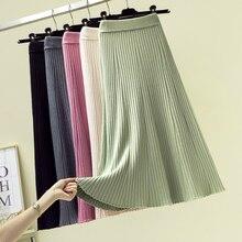 Longue jupe épaisse tricotée en mélange de cachemire, ligne a, longue pour femmes, jupe en tricot épais mi mollet, évasé, automne