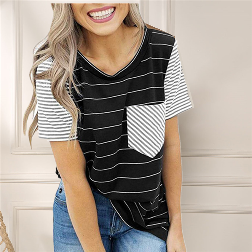 Striped T Shirt Women O-neck Short Sleeve 2020 New Pocket Tops Tee Shirts Women Clothes Casual Female Raglan Sleeves Tshirt