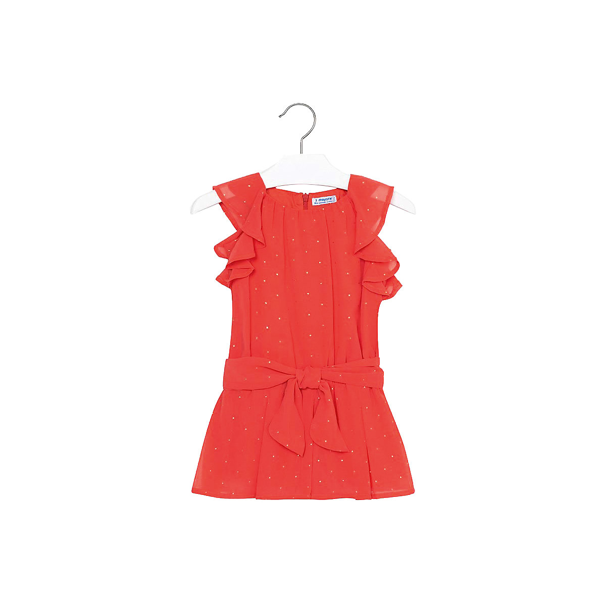 MAYORAL Dresses 10693139 Girl Children fitted pleated skirt Orange Polyester Casual Solid Knee-Length Sleeveless Sleeve