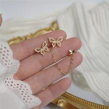 Ins Hot Sale 14K Real Gold Asymmetric Butterfly Simplicity Stud Earrings for Women Cubic Zircon ZC Birthday Gift +Серьги