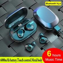 Prawdziwe bezprzewodowe wkładki douszne słuchawki z redukcją szumów TWS zestaw słuchawkowy Bluetooth 5.0 6000mAh bezprzewodowa słuchawka z mikrofonem Bluetooth