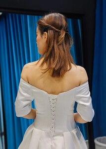 Image 5 - J66836 jancember cheap wedding dress boho chic strapless off shoulder half sleeve satin dress train свадебное платье с рукавами