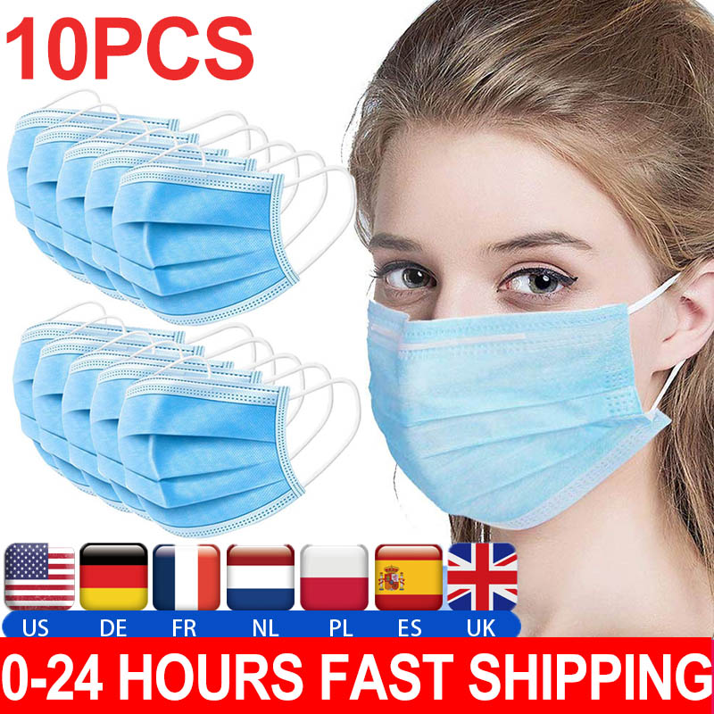 Anti-virus Masks 3 Layers Disposable Masks 5Pcs/lot 24 Hour Fast Shipping!!! In Stock !!! Fast Delivery !!!