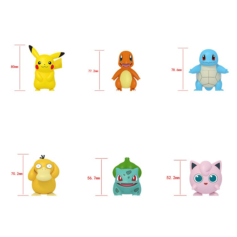 POKEMON Charmander Cleffa Pikachu Bulbasaur Squirtle Psyduck Pocket Monster Poké Model Action Figure One Piece Toy For Kids gift 6