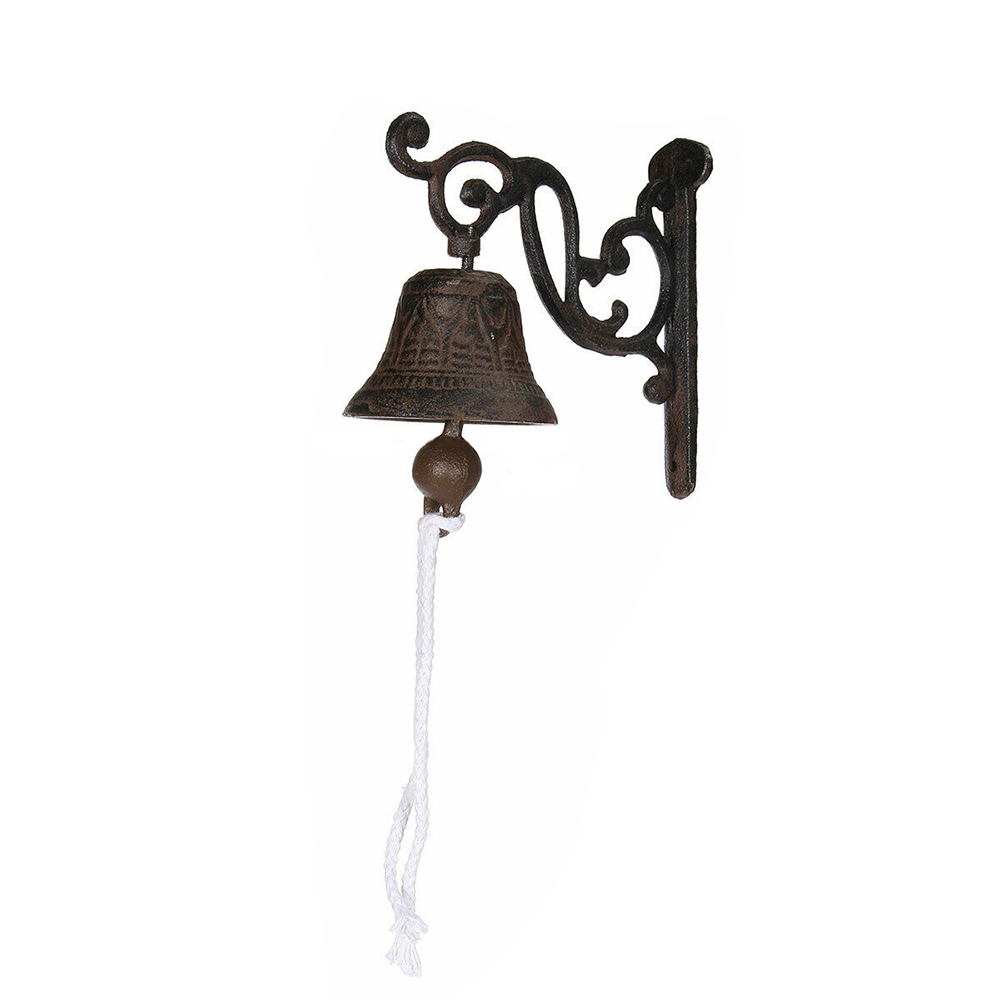 Vintage Antique Cast Iron Door Wall Bell Chime Wall Mounted Rust Garden Decor