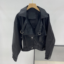 2021 Autumn New Women PU Leather Jacket Loose Black Army Green Red Leather Coat Woman Punk Moto Bikers Female Jacket