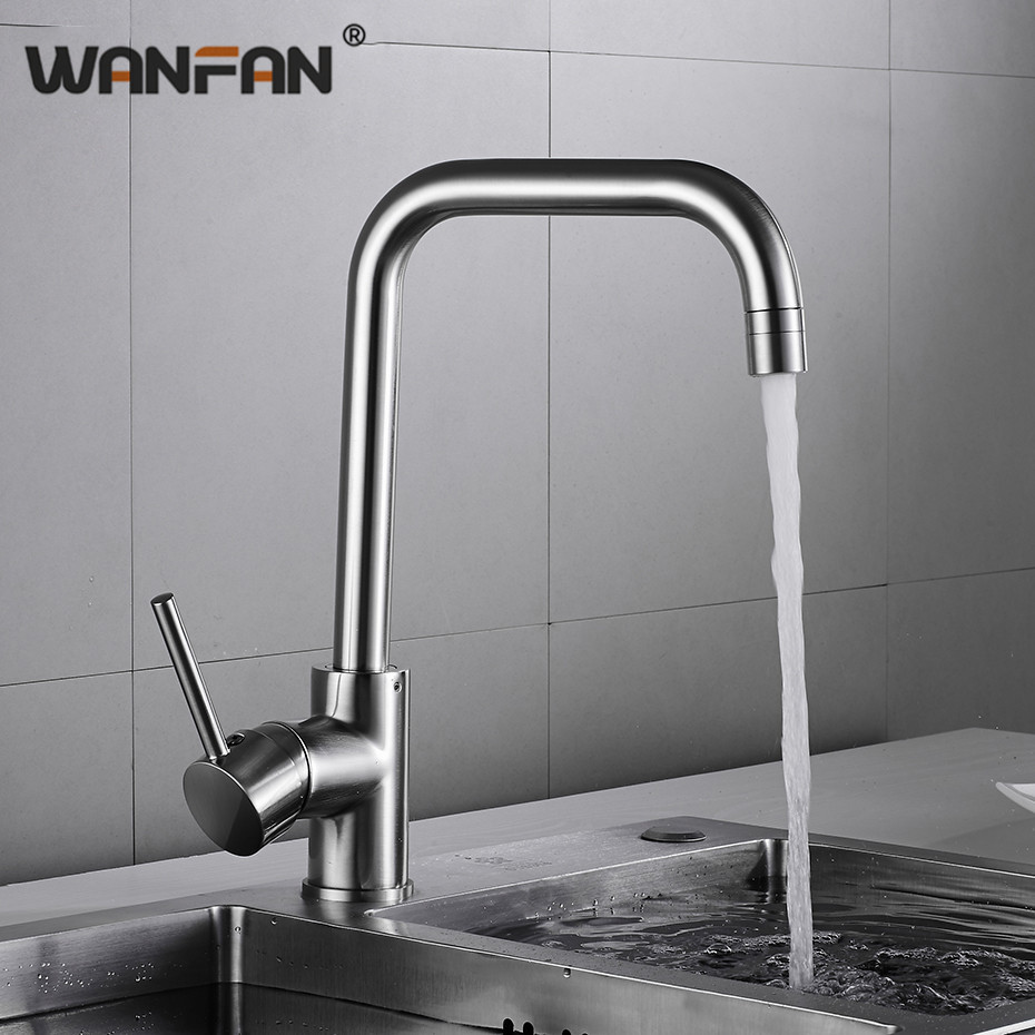 Kitchen Faucets Kitchen Water Tap Stainless Steel Kitchen Sink Faucet Single Handle Tall Spout Wash Basin Mixer Taps N22-175