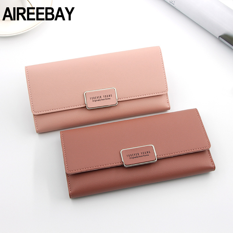 AIREEBAY Women Wallet Female Purse Long Large Capacity Wristband Coins Card Holder Wallet Purse Brand New Fashion Clutch