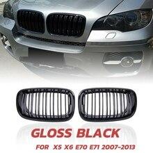 X5 X6 Vỉ Nướng, mặt Trận Thận Dây Chuyền Đôi Dạng Lưới Tản Nhiệt Cho 2007 2013 BMW X5 E70 X6 E71 (ABS Bóng Đen Vỉ Nướng, 2 Pc Bộ)