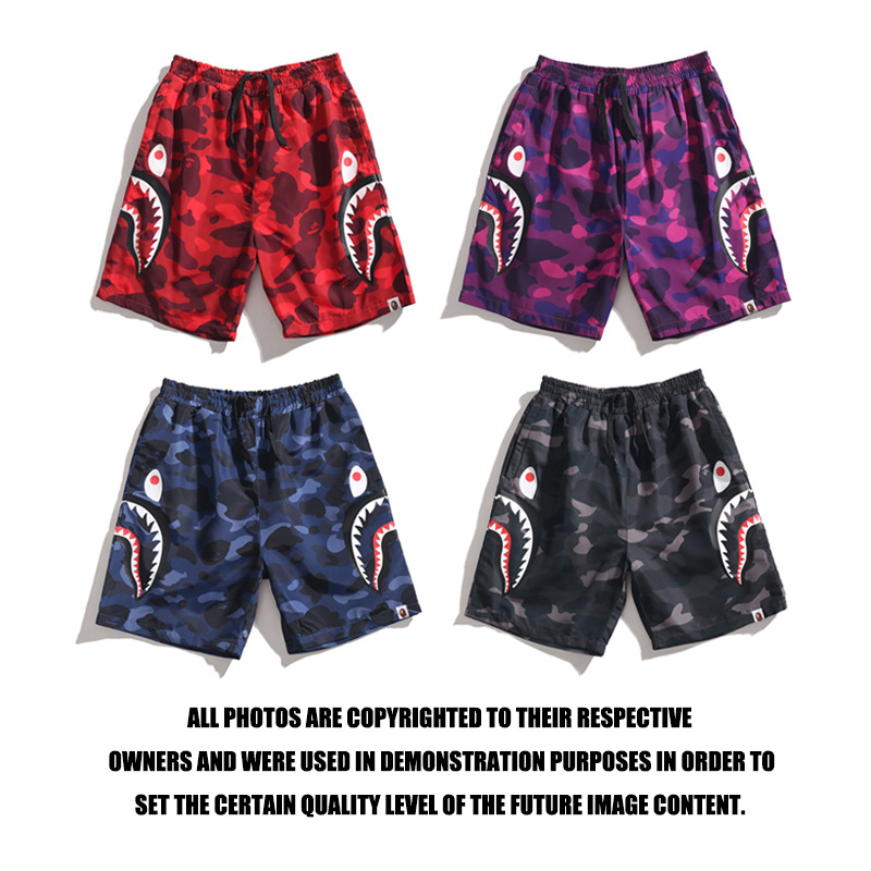 Japanese-style Popular Brand Side Edge Double Shark Head Camouflage Shorts Red & Amp; Purple & Blue & Black Summer Beach Shorts
