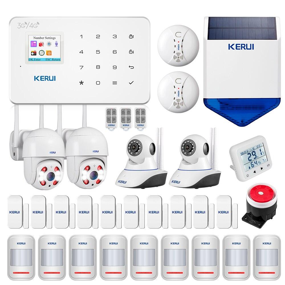 KERUI G183 3G Alarm System Home Security Motion Buglar Alarm Sensors Outdoor Solar Siren HD 1080P Surveillance Camera System