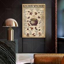 Póster de Witchery de cocina, impresión artística de pared de Halloween, arte de celebración de cocina, trabajo, receta de Halloween, decoración del hogar
