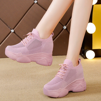 Rimocy Hidden Heels Platform Sneakers Women Breathable Air Mesh Wedge Sock Shoes Woman 2020 Spring Casual