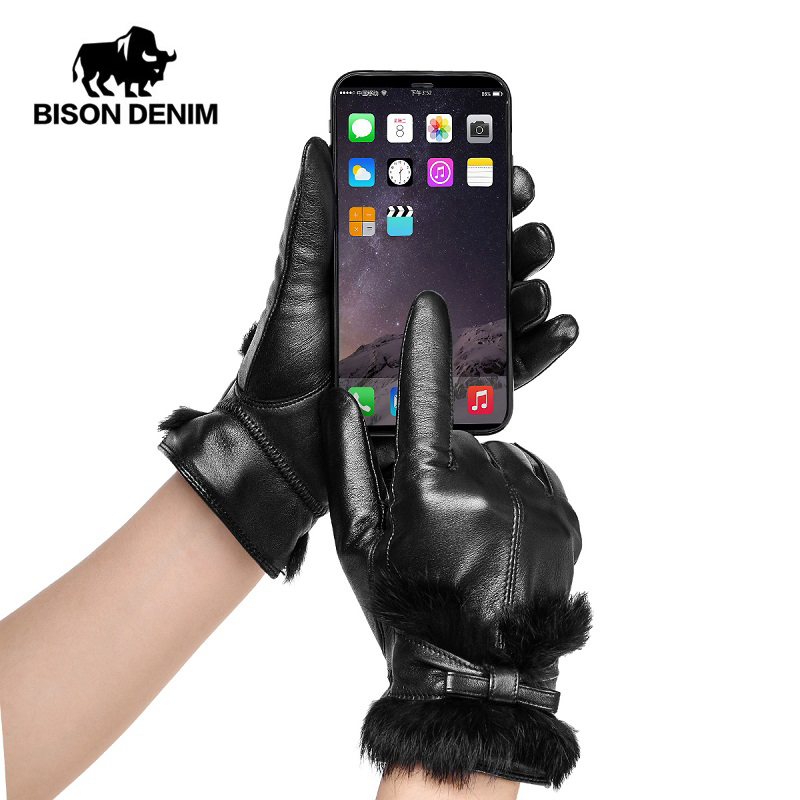 BISON DENIM Genuine Sheepskin Leather Warm Fashion Women Gloves Autumn Winter Touch Screen Windproof Gloves For Female S018