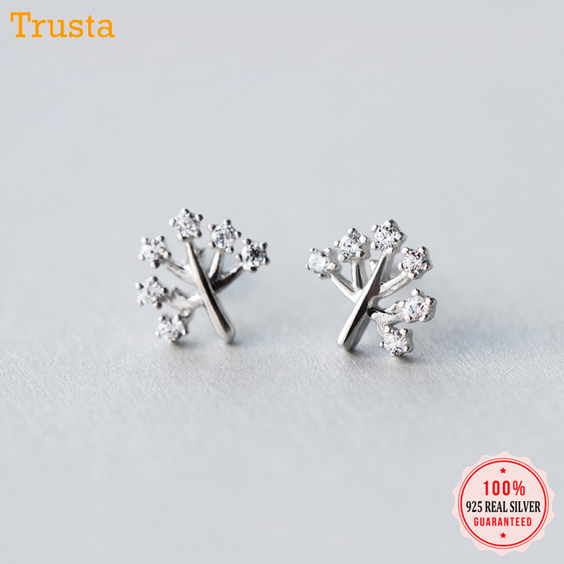 Trustdavis 2019 100% 925 Solid Real Sterling Silver Tree CZ Stud Earrings For Women Girls Kids Lady Fashion Fine Jewelry DA126 image