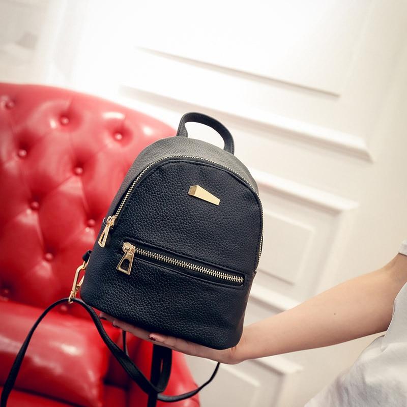Women Small Backpack College Student Rucksack Travel Shoulder Bags Teenager Girls PU Leather Bagpack Female Mochila
